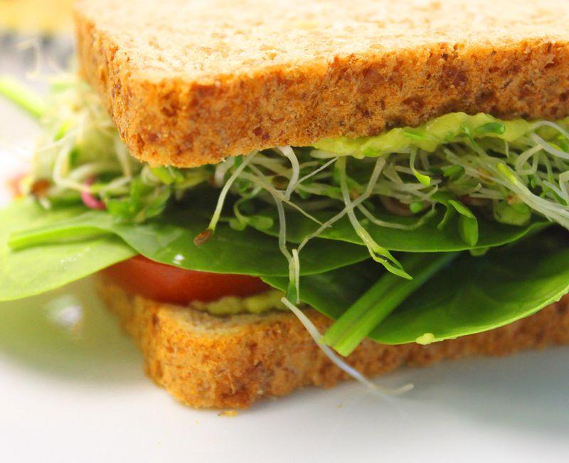Guacamole sprout sandwich