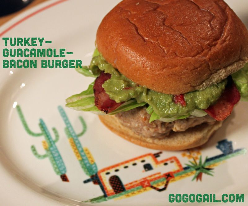 Turkey guacamole bacon burger labeled