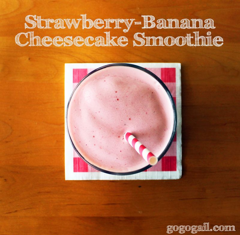 Strawberry banana cheesecake smoothie labeled