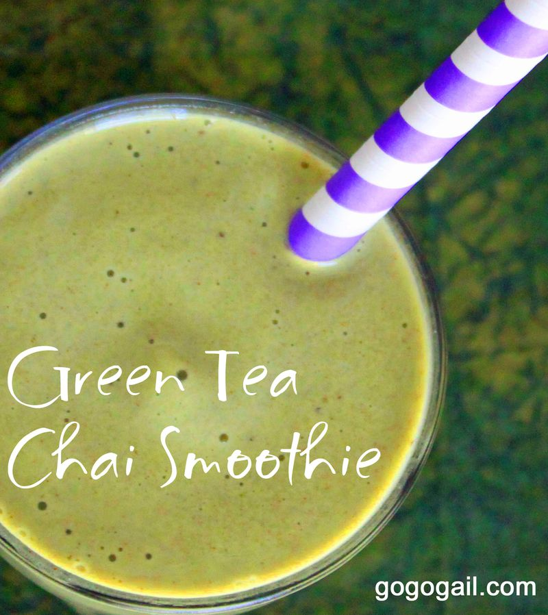 Green tea chai smoothie labeled