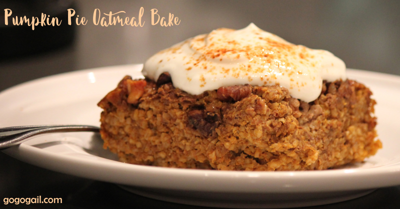 Pumpkin oatmeal bake beauty shot labeled